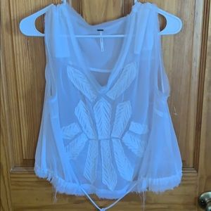 NWOT  Free People White tank with embroidery. Med